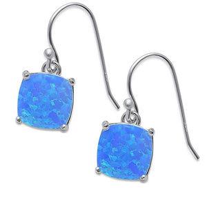 Cushion Shape Dangle Earring Lab Blue Fire Opal